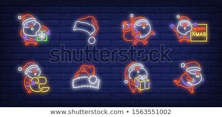 Vidám karácsony neonreklám ajándék táska piros Stock fotó © Voysla