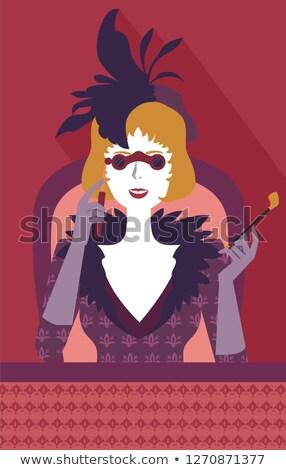 Meisje opera bril horloge illustratie kijken Stockfoto © lenm