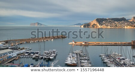 Picturesque scenery view to the calm Mediterranean Sea moored ya Stock photo © amok