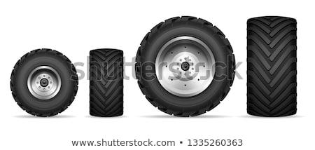 Réaliste tracteur icônes vue de côté isolé blanche Photo stock © YuriSchmidt