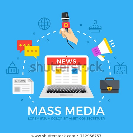 Mass media - line design style banners set Stock photo © Decorwithme