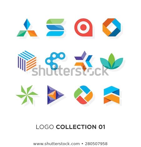 Abstract arrows squares logo design. Company brand identity. Stock Vector illustration isolated on b Stock photo © kyryloff