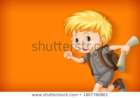 Background template with plain color wall and happy boy Stock photo © bluering