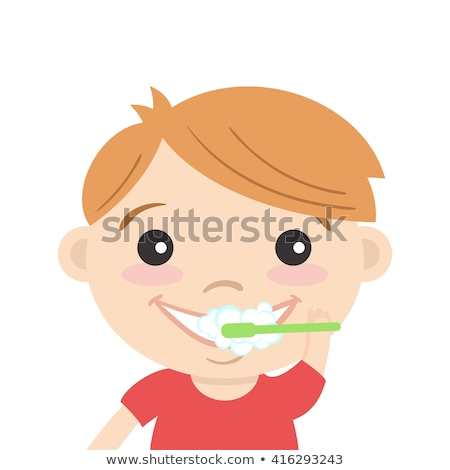 Male Character Cleaning Teeth In Bathroom Vector Foto d'archivio © curiosity
