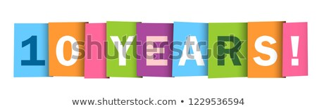 10 years old celebrating typograpgy. Colored happy anniversary 10 th template numbers. Greetings cel Stock photo © kyryloff