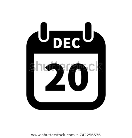 Simple black calendar icon with 20 december date isolated on white Stock photo © evgeny89