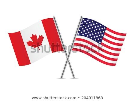 ABD Kanada bayraklar beyaz yalıtılmış yaprak Stok fotoğraf © evgeny89