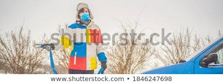 Homem corda carro metal homens inverno Foto stock © galitskaya