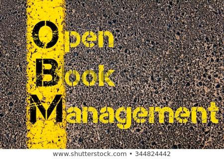 Otwarta księga skrót crm nowoczesne technologii działalności Zdjęcia stock © ra2studio