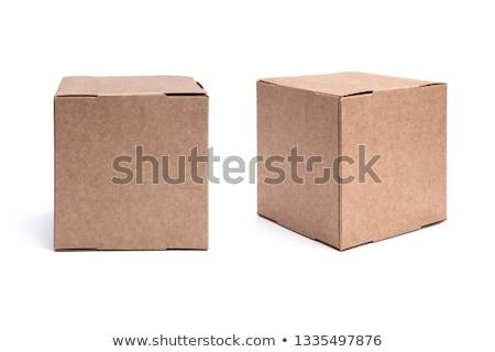 doboz · izolált · nyitva · fehér · kártya · út - stock fotó © posterize