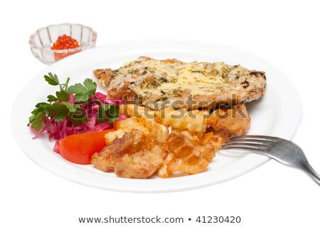 Fried meat in melted cheese and potatoes, roe Stock photo © RuslanOmega