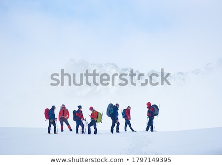csoport · barátok · áll · hó · domboldal · kéz - stock fotó © Paha_L