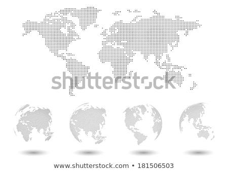 Stockfoto: Glanzend · aarde · kaart · globes · Blauw · verschillend