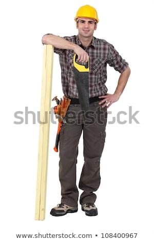 Handlowiec stwarzające budynku materiały człowiek budowy Zdjęcia stock © photography33