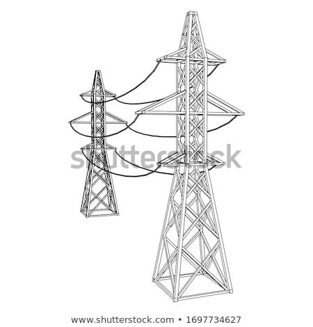 Drótok elektomos disztribúció állomás égbolt fém Stock fotó © deyangeorgiev