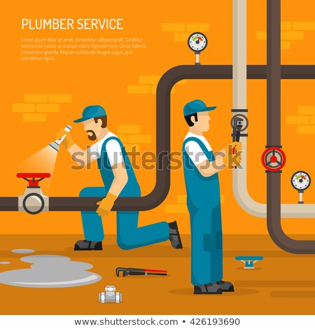 plombier · cuivre · pipe · mur · homme - photo stock © photography33