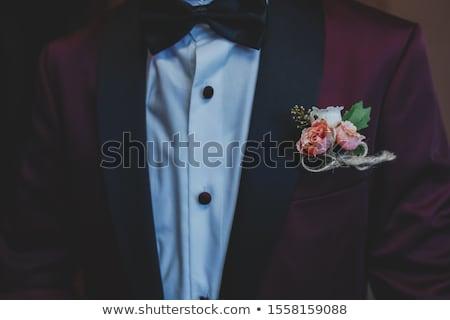 man · zwart · pak · witte · steeg · knoopsgat · bruiloft - stockfoto © artjazz