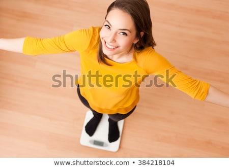 peso · mulher · calças · dificuldades · jeans - foto stock © nobilior