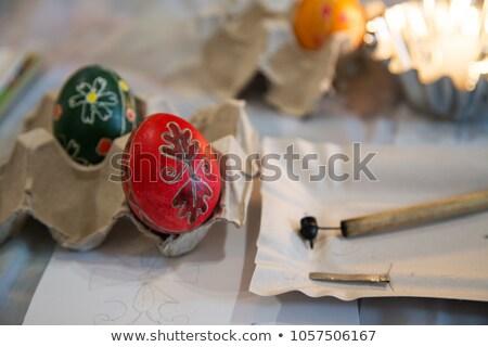 Pasen ei schilderij workshop paaseieren verf Stockfoto © saje