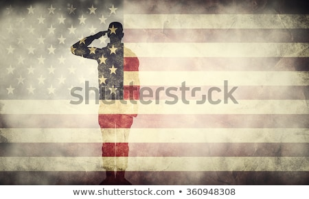 americano · soldado · em · pé · bandeira · americana · ilustração · homem - foto stock © vectomart