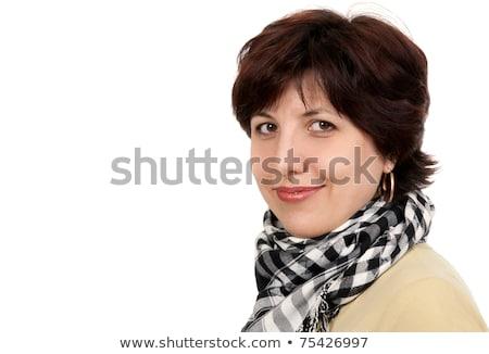 Portré nő negyven évek kockás sál Stock fotó © RuslanOmega