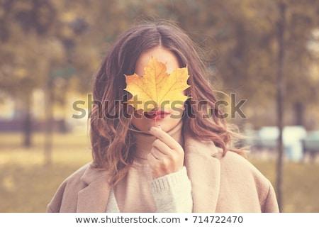 Mujer bonita otono parque retrato madera feliz Foto stock © marylooo