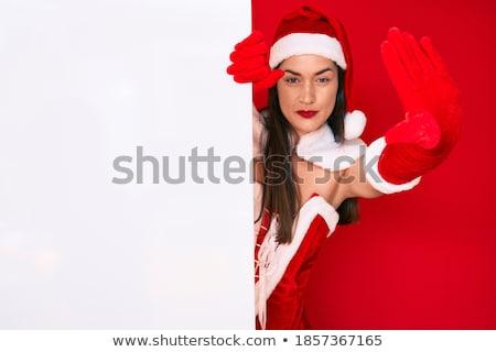 gyönyörű · szexi · nő · visel · mikulás · mondatrész · jelmez - stock fotó © grafvision