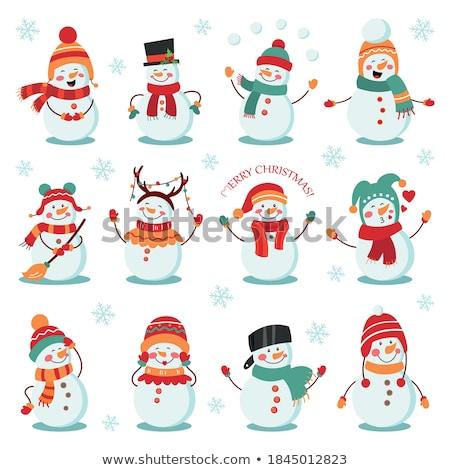 Bonhomme de neige carte image belle heureux paysage Photo stock © magann