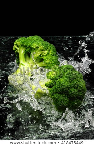 friss · zöld · brokkoli · víz · izolált · fekete - stock fotó © ozaiachin
