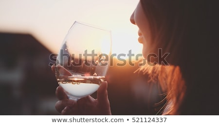 Woman on the terrace with a glass of wine Stock photo © photography33