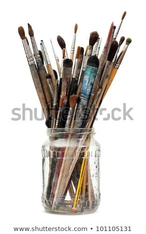 festék · öreg · fából · készült · fehér · vászon · papír - stock fotó © inxti