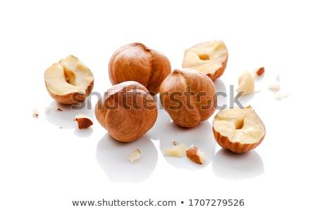Stockfoto: Hoop · hazelnoten · geïsoleerd · witte · textuur · voedsel