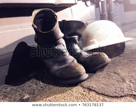 Citromsárga védősisak öreg bőr csizma védőszemüveg Stock fotó © stevanovicigor