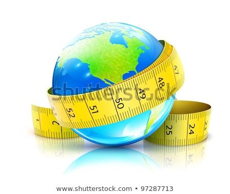 Globo amarelo fita métrica mundo fitness gordura Foto stock © pterwort