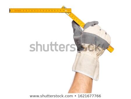 Szabály kéz kesztyű építkezés otthon háttér Stock fotó © pterwort