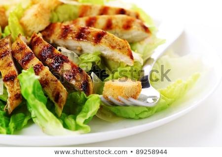シーザーサラダ 焼き鳥 葉 レストラン 乳がん プレート ストックフォト © hojo