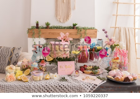 bebê · chuveiro · projeto · elementos · conjunto · menina - foto stock © popocorn