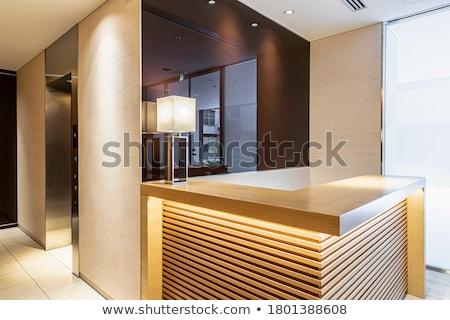 Modernen besetzt 3d render weiß Tabelle blau Stock foto © ixstudio