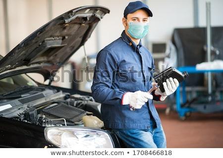 Mécanicien cartoon sourire construction art Ouvrir la Photo stock © vector1515