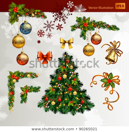 christmas vector set of fir tree and evening balls new year stock photo © mcherevan