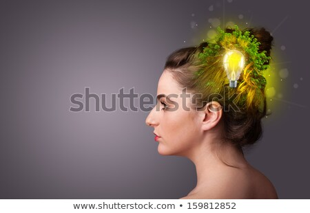 young mind thinking of green eco energy with lightbulb stock photo © ra2studio