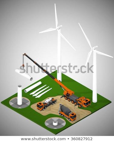 Farma wiatrowa budowy wiatr długo ostrze pierwszy plan Zdjęcia stock © MSPhotographic