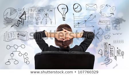 Genç iş kadını düşünme planları yüz Stok fotoğraf © HASLOO