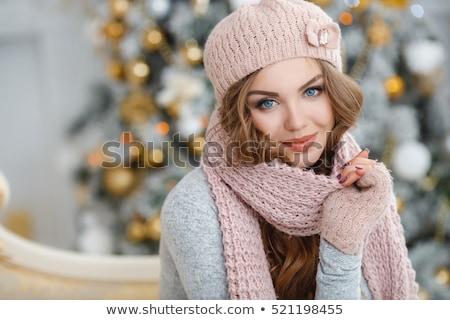 mutlu · Noel · kadın · kış · giyim · yalıtılmış - stok fotoğraf © nejron