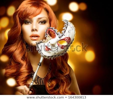 jonge · vrouw · carnaval · masker · geïsoleerd · witte · gezicht - stockfoto © nejron