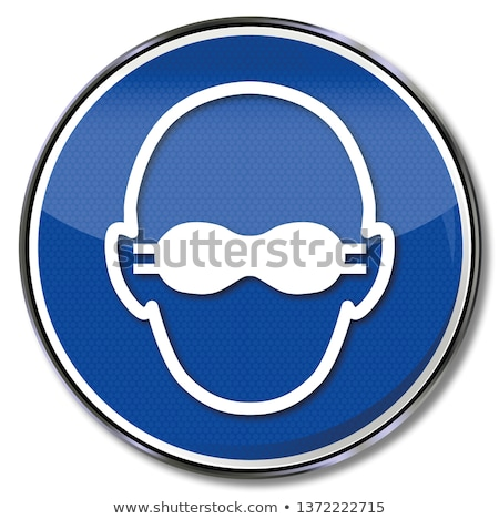 Verplicht teken stofbril oog bescherming glas Stockfoto © Ustofre9