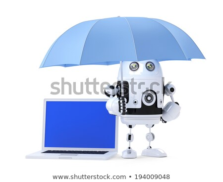 Android robot with laptop and umbrella. Security concept. Isolated. Contains clipping path of entire Stock photo © Kirill_M