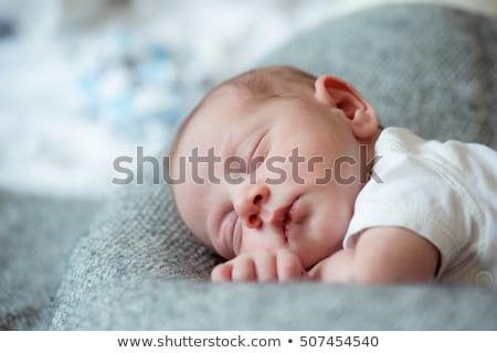 magasról · fotózva · kilátás · újszülött · baba · alszik · otthon - stock fotó © bmonteny