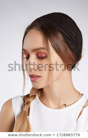 Close Up of Woman Wearing White Lacy Top Stock photo © dash