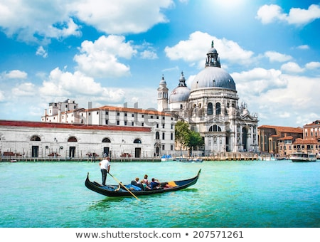 Gondolas on Canal Grande with Basilica di Santa Maria della Salu Stock photo © vwalakte